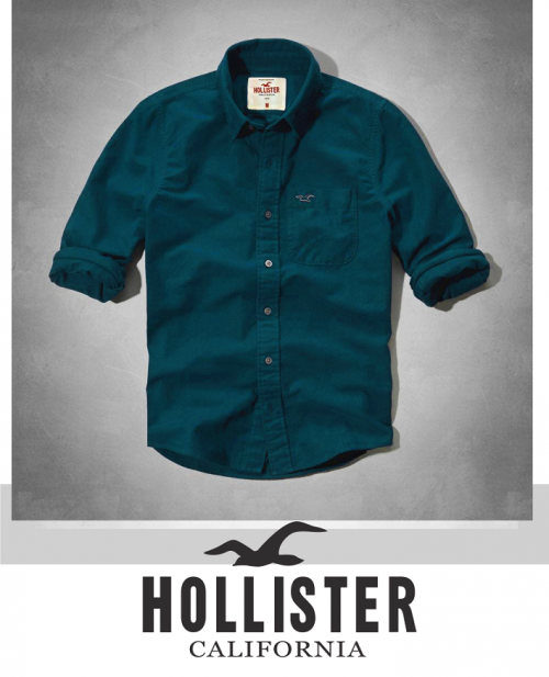 K Deal - Ao so mi nam Hollister mau xanh co vit