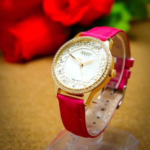 Đồng hồ nữ dây da Julius K1019 (màu hồng tươi)
