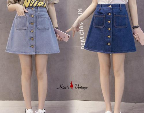 Váy Jean Nút Phá Cách Kim's Vintage