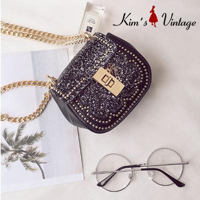 Túi da đính kim tuyến Kim's Vintage