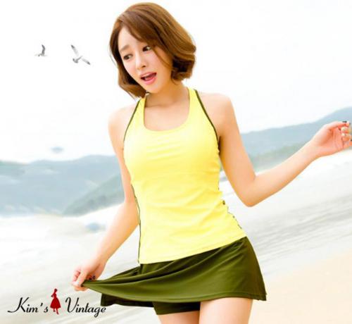 Bộ Đồ Bơi 2 Mảnh Gồm Áo Bơi Hai Dây Và Váy Bơi Kiểu Hàn Quốc
