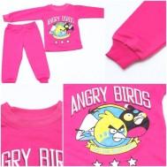 Bộ nỉ màu hồng in hình Angry Birds cho bé gái