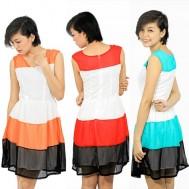Đầm voan cổ chữ V phối 3 màu