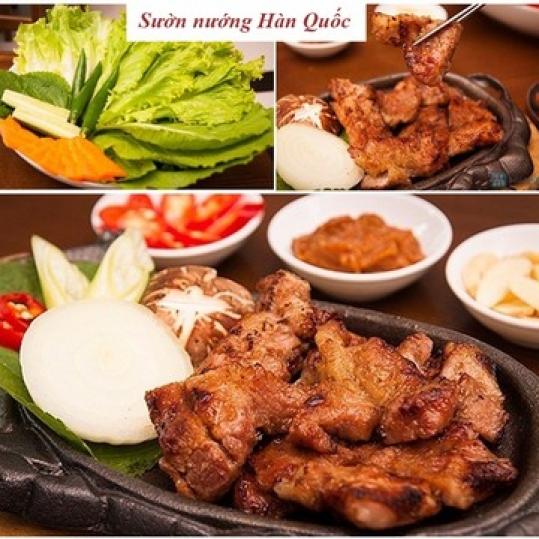 Sườn heo nướng Hàn Quốc + 6 món phụ cho 2 người