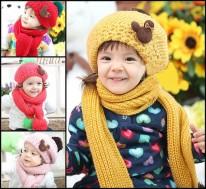 Bộ khăn mũ nồi len cho bé