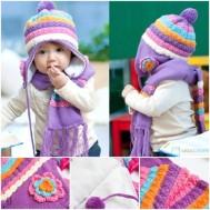 Bộ khăn mũ len kết hoa cho bé gái