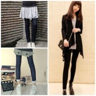 Quần legging giả jeans chất dày dặn