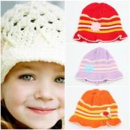 Combo 2 mũ len vành hoa cho bé gái