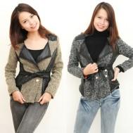 Áo vest len đan xù pha da thắt đai thời trang