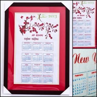 Đón năm mới với Tranh thêu lịch 2013 treo tường