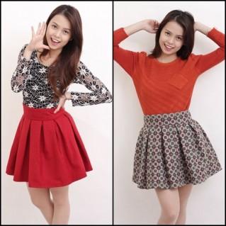 Chân váy dạ xòe phong cách Hàn Quốc