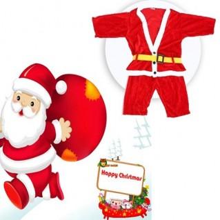 Bộ quần áo ông già Noel bằng vải nhung cho bé - Thời Trang Trẻ Em