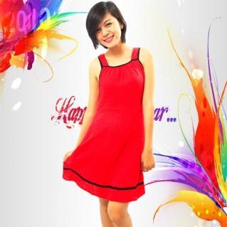 Đầm đỏ sát nách mặc nhà