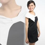 Đầm minosa trắng đen yêu kiều