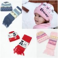 Bộ khăn và mũ len cho bé trai, bé gái
