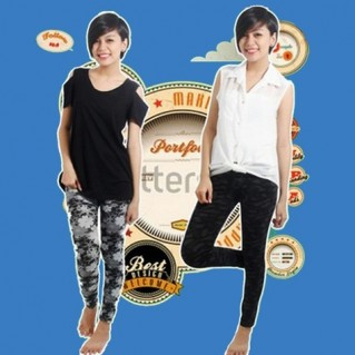 Quần legging giả jean hoa form dài - 2 - Thời Trang Nữ