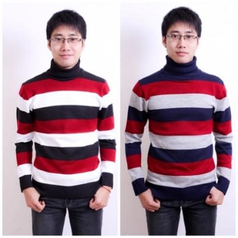 Thời trang với Combo 2 áo len kẻ cao cổ cho nam