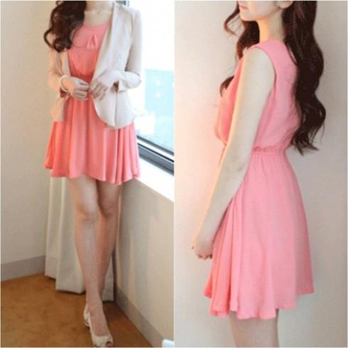 Đầm hồng 2 lớp ngọt ngào