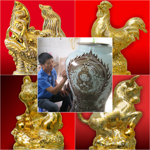 Voucher mua sứ mỹ thuật cao cấp vẽ vàng ròng