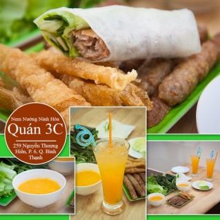 2 phần nem Ninh Hòa + 2 ly nước ngọt + 2 khăn
