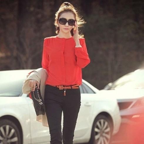 Áo sơ mi dài tay phong cách Hàn Quốc cho nữ