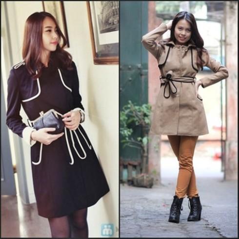 Áo măng tô dạ kèm dây lưng phong cách Hàn Quốc