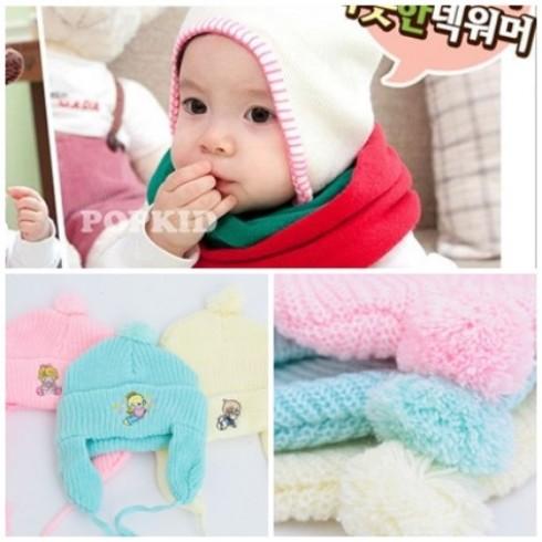Xinh yêu với Combo 3 mũ len che tai cho bé