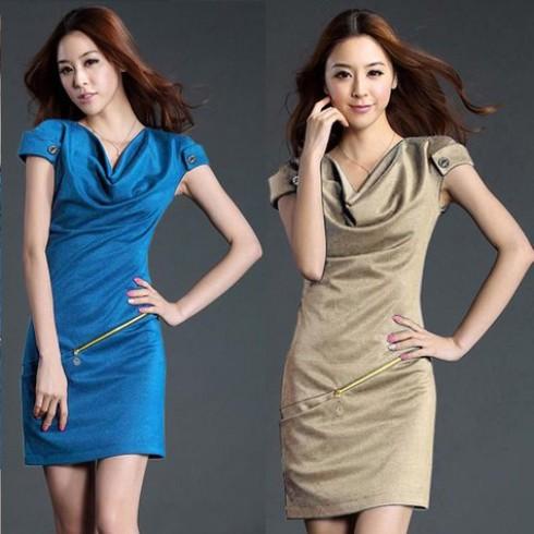 Đầm dây kéo cổ đỗ phong cách Hàn Quốc