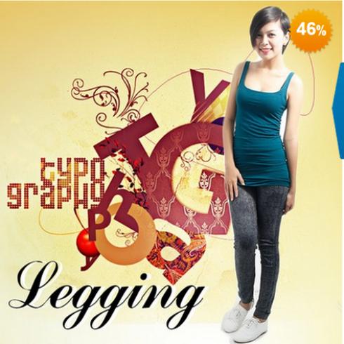 Quần legging dài giả jean cực chất