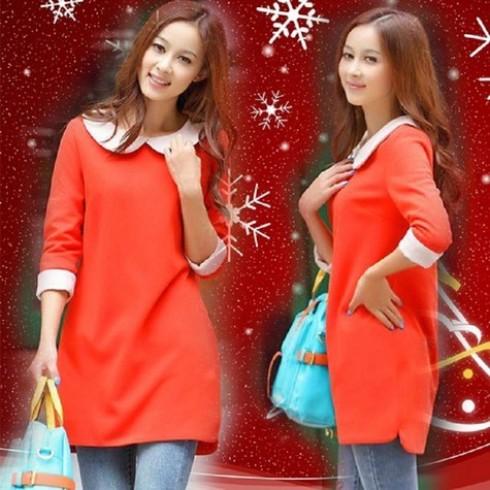 Đầm tay lửng màu đỏ cam xinh xắn