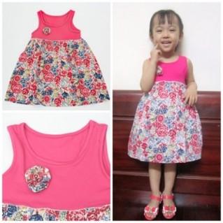 Váy hoa đính nơ cao cấp cho bé gái
