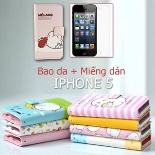 Bao da + Miếng dán màn hình cho iPhone 5