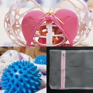 Combo banh giặt + túi lưới + bóng giặt áo lót