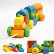 Bộ đồ chơi gỗ xe lửa kéo