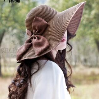 Mũ đi biển đính nơ điệu đà
