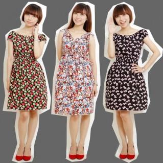 Combo 2 váy lanh họa tiết mùa hè