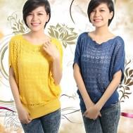 Áo cánh dơi móc len xinh xắn - 1 - Thời Trang Nữ
