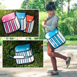 Túi đeo chéo họa tiết 3D chất vải bố