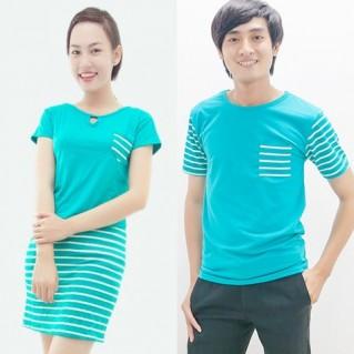 Set áo đôi xanh-Bộ đôi trẻ trung mùa hè