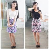Đầm hoa phối ren kết nơ - Phong cách vintage