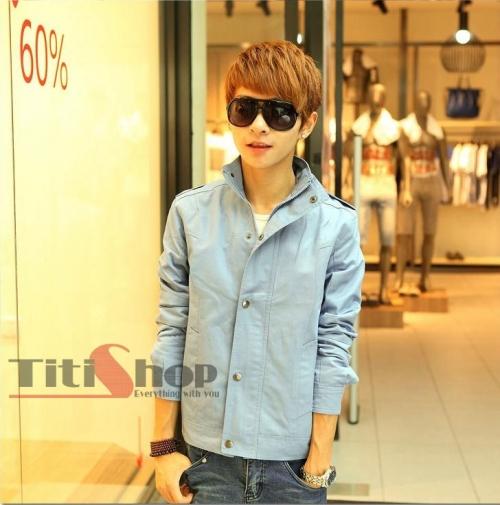Mua Hàng VIP - Ao khoac nam Cao cap AKN38 Sanh dieu ( xanh )