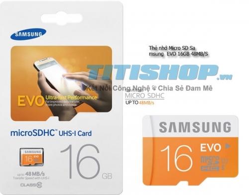Mua Hàng VIP - The nho Micro SD Samsung EVO 16GB 48MB/S 1