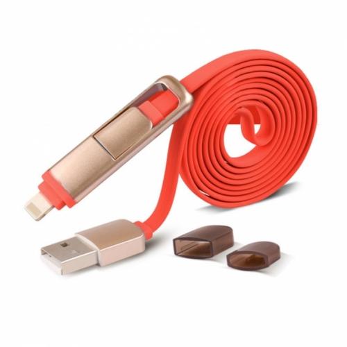 Mua Hàng VIP - Cable sac 2 dau cong MicroUSB va Lightning iphone ( do )