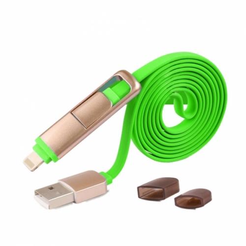 Mua Hàng VIP - Cable sac 2 dau cong MicroUSB va Lightning iphone ( Xanh la )