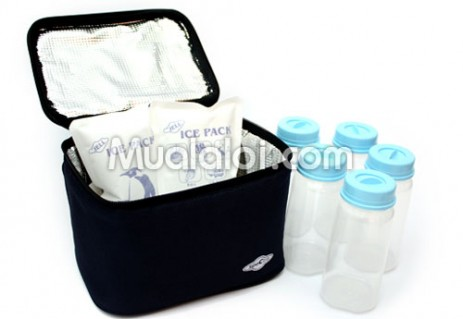 Túi giữ lạnh + 5 bình sữa PP + 2 túi đá khô Spectra