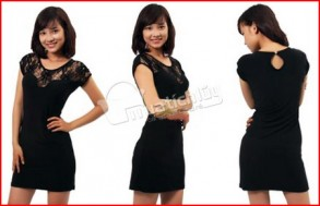 Đầm thun body cao cấp, màu đen sang trọng, cổ có phối lớp ren thời trang. Giúp tôn thêm những đường cong quyến rũ của phái đẹp. Chỉ 82.000Đ tại Muatichluy.com