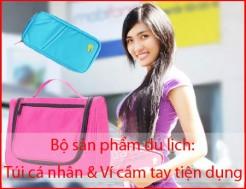 Bộ sản phẩm du lịch gồm - Túi cá nhân & Ví cầm tay tiện dụng. Chất liệu vải không thấm nước. Đồng hành cùng bạn trong những chuyến đi. Chỉ 96.000Đ có tại Muatichluy.com