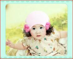 """Nón len kèm tóc giả, chất liệu mềm mịn, kiểu dáng dễ thương. Bảo vệ sức khỏe & """"làm điệu"""" cho bé yêu nhà bạn. Chỉ 47.000Đ có tại Muatichluy.com"""