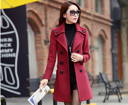 Áo khoác dạ form dài viền màu cao cấp - MD1188