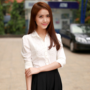 My Deal - Ao so mi phoi ren hoa hong - MD598